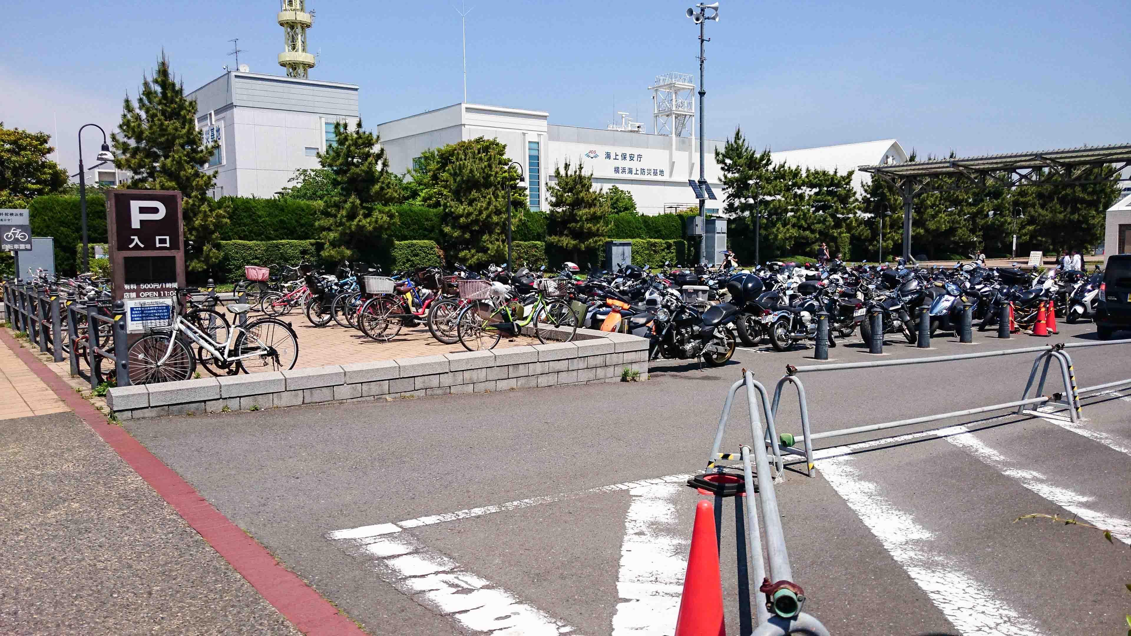 【無料!】横浜赤レンガパーク内バイク駐輪場に行ってみた!大型バイクは要注意!