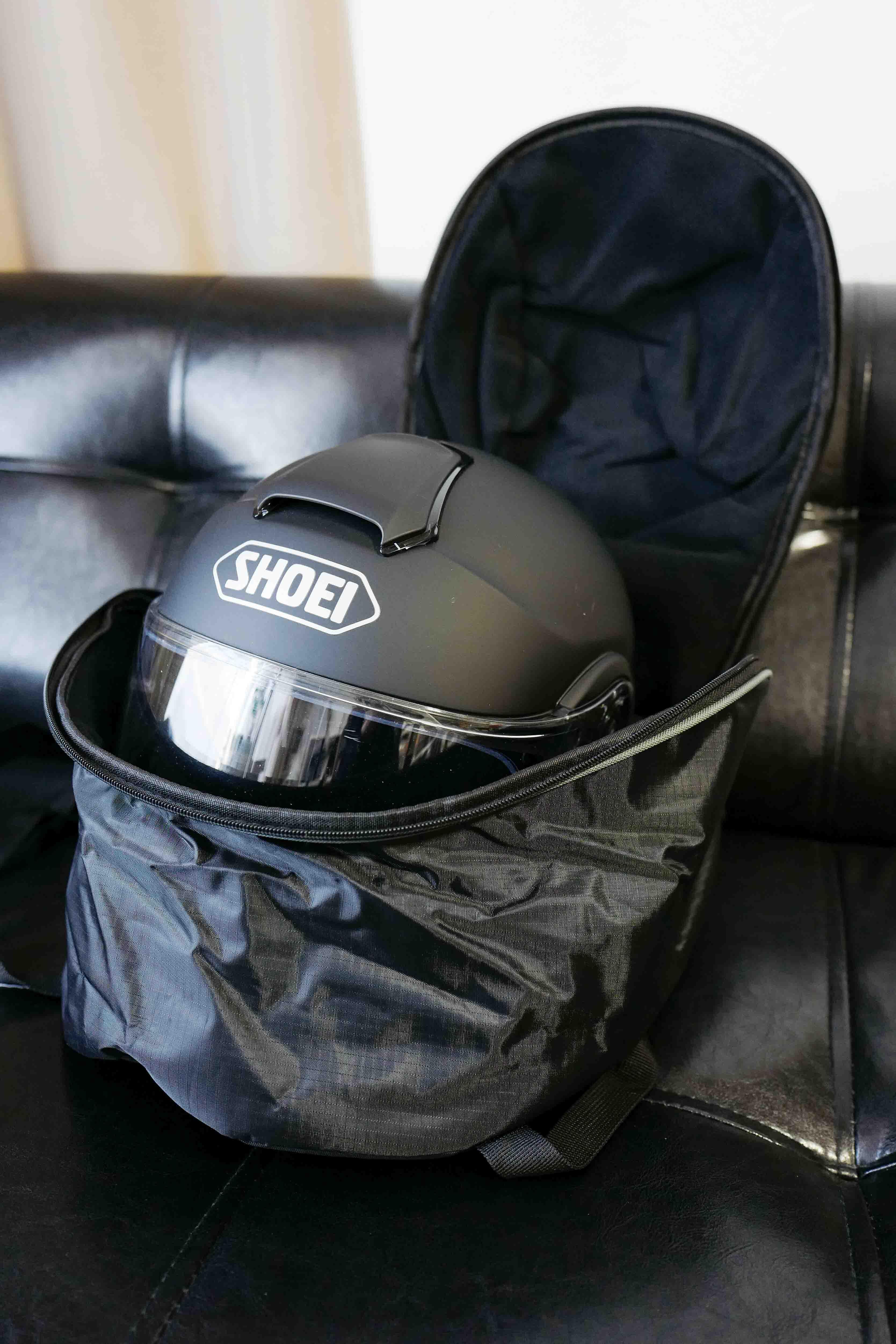 「ヘルメットバッグ」に「フルフェイスヘルメット」を入れる!【BAGSTER(バグスター) ヘルメットバッグ HELMET BAG PIX(ピックス) ブラックxグレー XSD148】