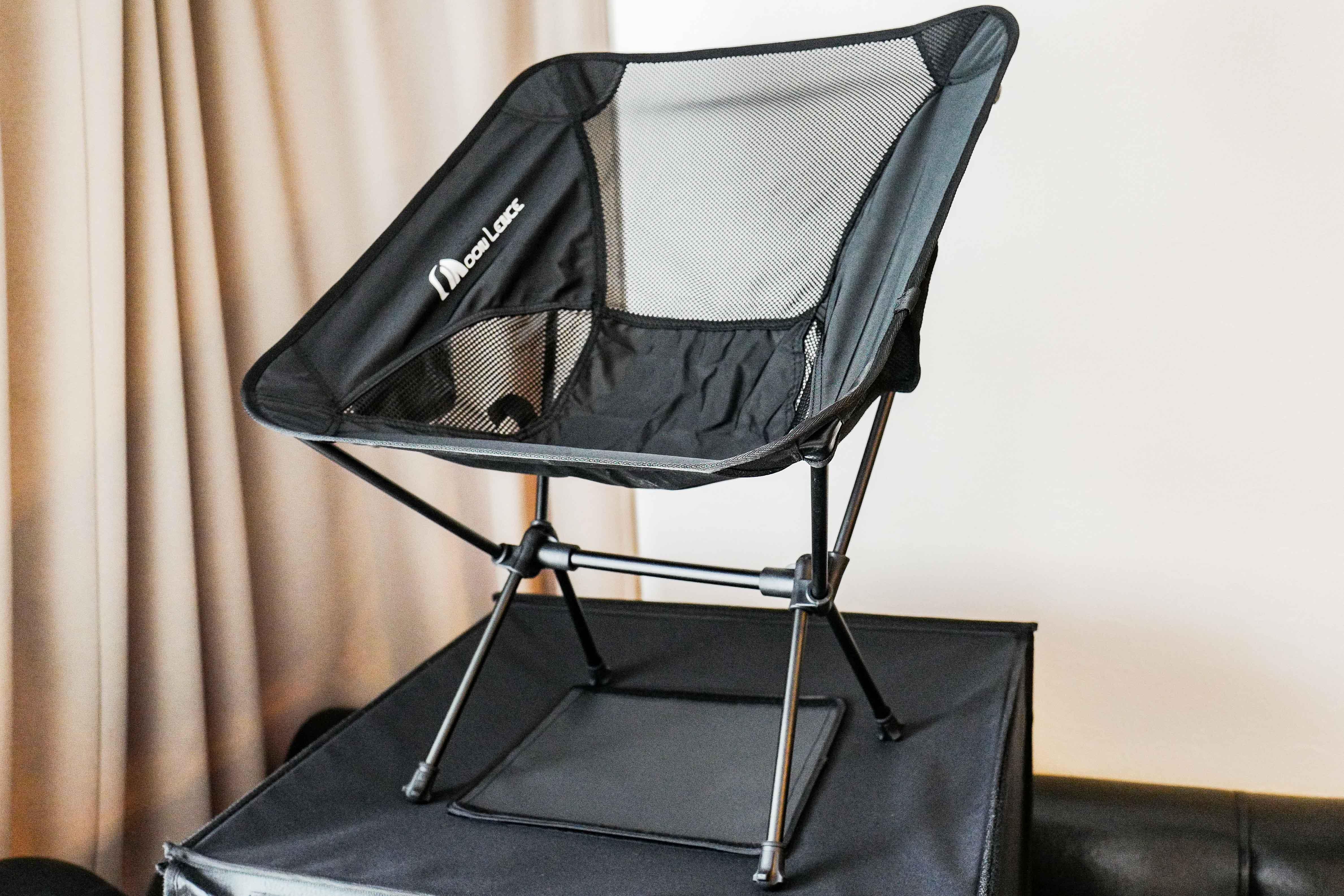 【約900gで軽い!】Moon Lence折りたたみアウトドアチェア【バイクのサドルバックに積めるほど超軽量コンパクト!! でツーリング休憩しよう!背もたれありキャンプ椅子!詳細写真で組み立てのコツも!】