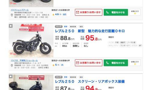 【中古価格が新車を超えた!】大人気!レブル250中古が高騰中!